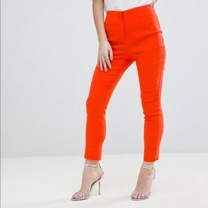 ASOS Petite High Waisted Trousers - Orange